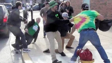 Epic St. Patrick's Day Brawl In Front of Wrigley Field